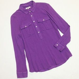 Madewell Popover Shirt Blouse Purple